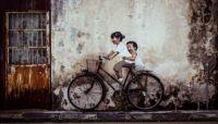 street art penang - kids on bicycle