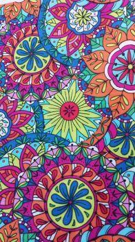 Coloring Book Mandal Fabric