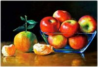 Painting -  Apples and Oranges in a Blue Glass Bowl