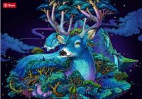 Colorful deer in blue