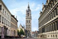 The Belfry, with the Town hall of Ghent on the right