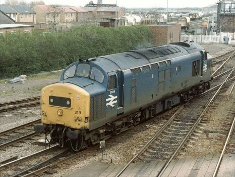 Class 37219 at March, Cambridgeshire - 6th Apr 1993