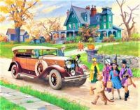 Themes Vintage illustrations/pictures - 1929 Franklin Sports Car & Halloween