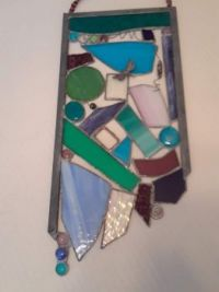 THEME:  Glassware  Abstract Stained Glass window hanging #3