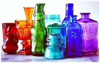 Assorted Decorative Coloured Glass Objects