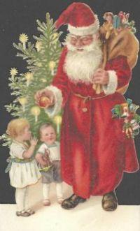 Santa shares a peach