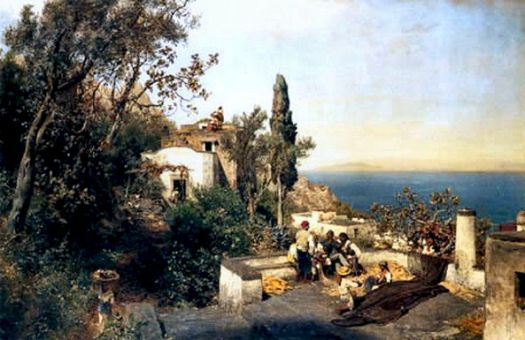 Italian Coast Near Naples, 1880 by Oswald Achenbach