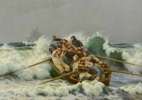 "Laurits Tuxen, ""The Life Boat Rows Out"""
