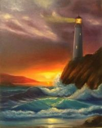 Lighthouse at Night by Nata New