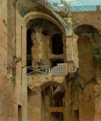 Gilles-François-Joseph Closson (1796–1842), Interior Arcades of the Colosseum with Two Figures