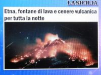 Etna, erupting lava and volcanic ash/gravel all night long