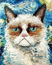 Grumpy Cat meets Starry Night