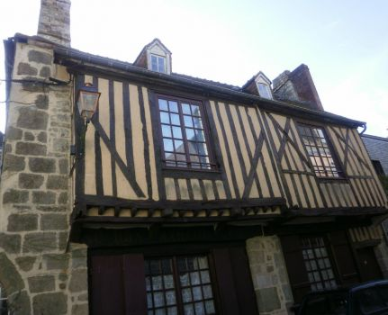 Medieval half-timbered building in Domfront, France