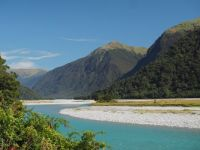 The confluence of the Haast - Landsborough Rivers.