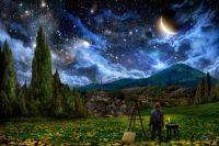 Photoshop interpretation of Van Gogh, ready to paint Starry Night