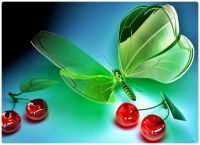 CGI Art - Glass Butterfly with Glass Cherries