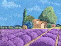 Pointillism painting of a lavender field