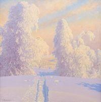 Gustaf Fjaestad Skidspår i vinterlandskap, 1944