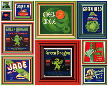 """Vintage Fruit Crate Labels """"GREEN"""""""