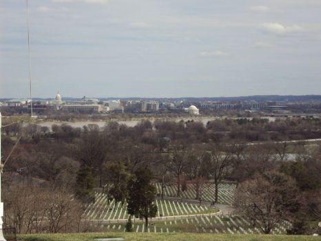 Arlington National Cemetery overlooking Washington, DC