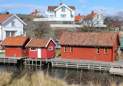 Boathouses and summer homes in Grundsund, Sweden