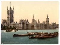 London, Palce of Westminster (Houses of Parliament). Circa 1900. Photochromatic image.