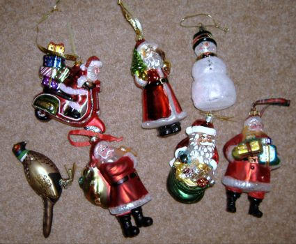 Seasonal - Christmas Tree Trims - Glass Multi