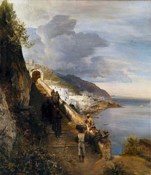 The Amalfi Coast with Staies to the Capuchin Monastery, 1833 by Oswald Achenbach