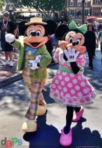 Mickey and Minnie in their Easter costume.