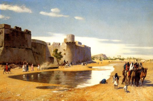 """An Arab Caravan outside a Fortified Town, Egypt"" by Jean-Leon Gerome."