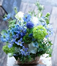 Happiness is....Lovely Blue and Green Arrangement.
