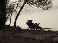 Some people relaxing by Lake Superior