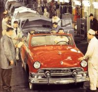 1951 Ford Convertible Red on Assembly line