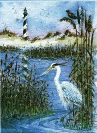 Lighthouse and Heron Note Card