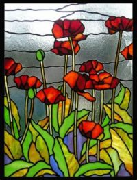 Hollyhocks stained glass poppies panel