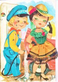 Themes Vintage illustrations/pictures - Big eyed Postcard