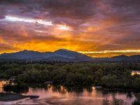 Sunset over Sacramento River,Redding, California