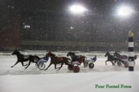 Racing in the snow at Hawthorne