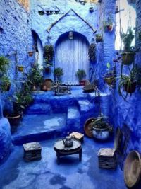 Cortyard house in Chefchaouen, Morocco