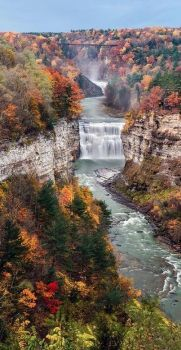 Middle Falls on the Genesee River in Letchworth State Park ~ Castile, New York, USA