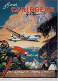 Vintage travel poster for The Caribbean
