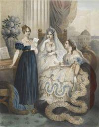 Queen Hortense sings Partant pour la Syrie before Empress Joséphine and Empress Eugénie.