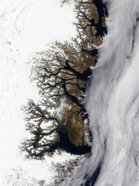 Greenland's coast just before the onset of winter image by NASA