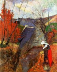Breton Woman with a Pitcher, Paul Gauguin