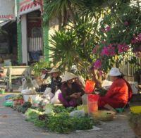 Local informal growers market in Go Dau, Vietnam