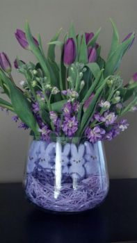 purple tulips and peeps