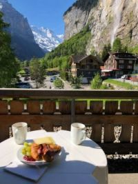 Breakfast with a view: Lauterbrunnen, Switzerland