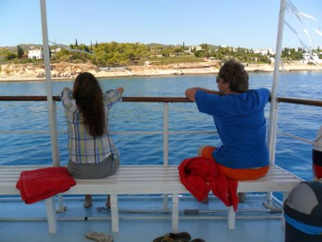 Spetses beach boat