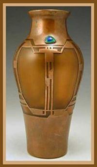 Secessionist Orange glass vase with copper overlay, Loetz 1905