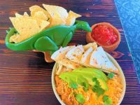 Poblano pepper quesadilla plate with Nachosaurus chip and dip set